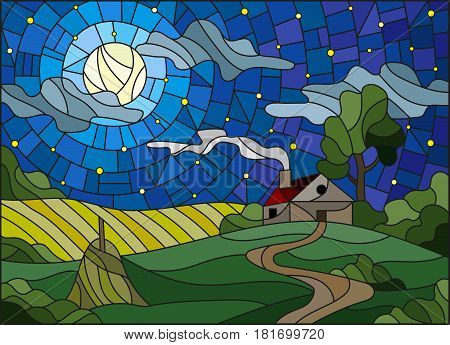Illustration in stained glass style landscape with a lonely house amid fieldmoon and starry sky