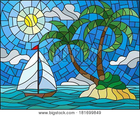 Illustration in stained glass style with the seascape tropical island with palm trees and a sailboat on a background of ocean sun and cloudy sky