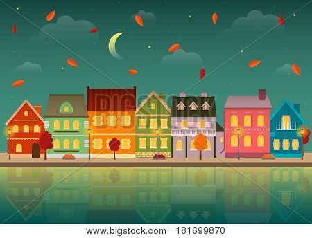 Autumn cityscape at night. Urban landscape in the fall with reflection in the water. EPS10 vector illustration in flat style.