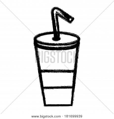silhouette delicious refreshing soda beverage, vector illustration design