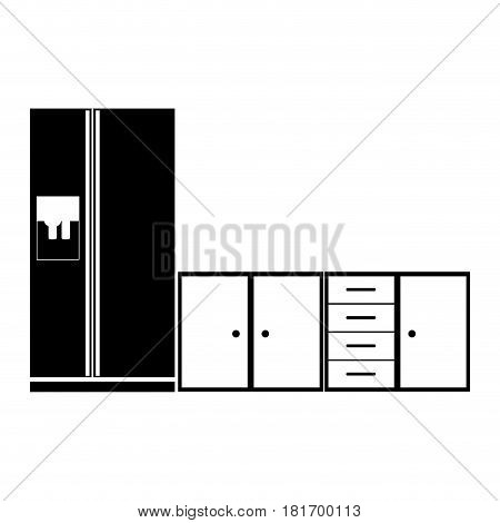 monochrome silhouette of lower kitchen cabinets with fridge vector illustration