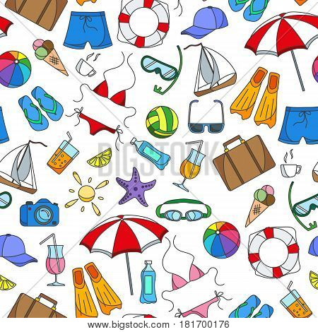 Seamless pattern on the theme of summer holidays in hot countries simple color icons on white background