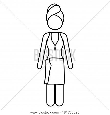 monochrome contour pictogram of woman in one piece swimsuit with towel in head and waist vector illustration