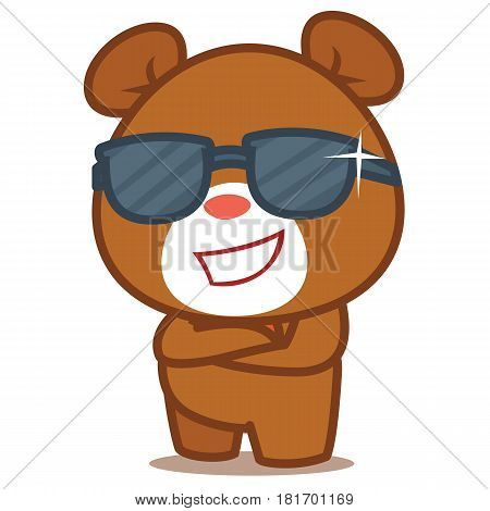 Cool bear character vector illustration collection stock