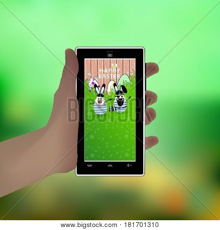 Easter. Hold Your Hand A Smart Phone. Illustration