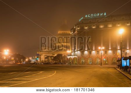 SAINT PETERSBURG, RUSSIA - MARCH 12, 2017: Foggy March night on St. Isaac's square