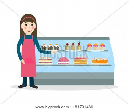 Grocery store or bakery shop female salesperson against vitrine with cakes and pastry in flat style. Smiling gesturing woman bakery seller.