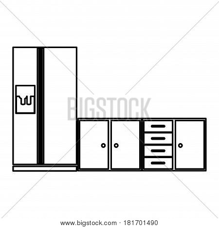 monochrome contour of lower kitchen cabinets with fridge vector illustration
