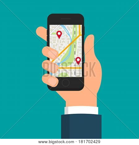 Hand holding smartphone with navigation app or online city map. EPS10 vector illustration in flat style.