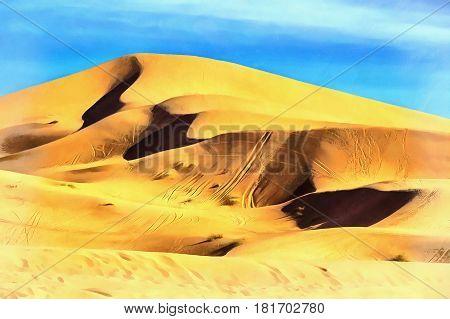 Sand dune colorful painting Sahara desert Merzouga Morocco
