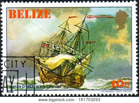 UKRAINE - CIRCA 2017: A postage stamp printed in Belize shows sailing ship Man of War 19th cent. from the series Historic ships circa 1982