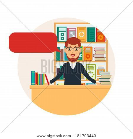 Male bookseller with speech bubble against shelves with books. Man selling books at the bookstore or librarian at the library. EPS10 vector illustration in flat style.
