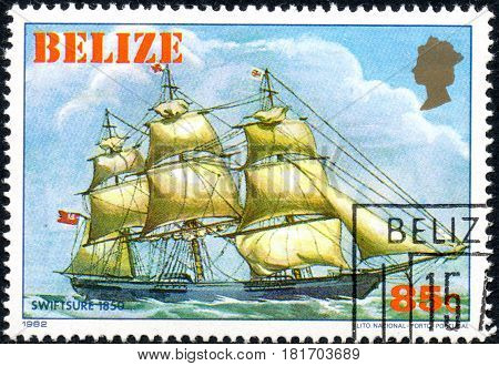 UKRAINE - CIRCA 2017: A postage stamp printed in Belize shows sailing ship Swiftsure 1850 from the series Historic ships circa 1982