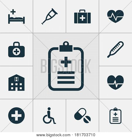 Medicine Icons Set. Collection Of Polyclinic, Mercury, Surgical Bag And Other Elements. Also Includes Symbols Such As Wheelchair, Stethoscope, Chest.