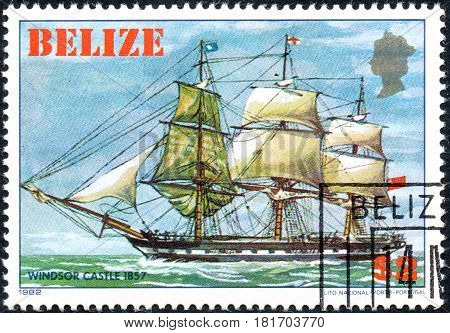 UKRAINE - CIRCA 2017: A postage stamp printed in Belize shows sailing ship Windsor Castle 1857 from the series Historic ships circa 1982