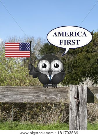 Comical America First presidential inauguration pledge with bird perched on a countryside fence
