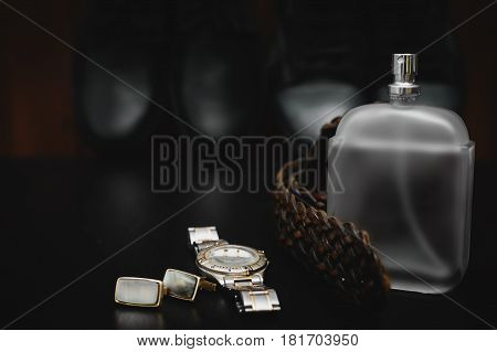 Man Accessories. Perfume with watch and cuff