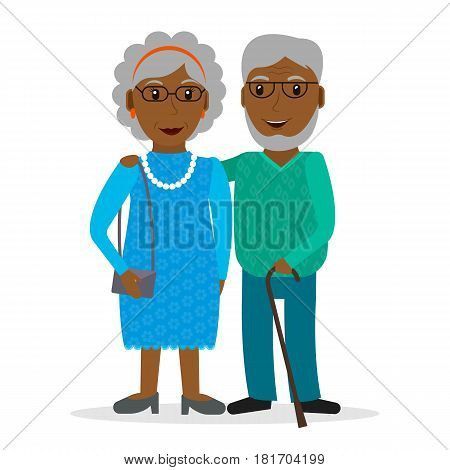 Black old couple of retirees. Grandfather and grandmother. Retired people with glasses and walking stick. Elderly persons: man and woman. EPS10 vector illustration in flat style.