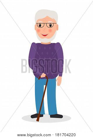 Old man wearing glasses and with cane in flat style. EPS10 vector illustration of grandpa character with walking stick.