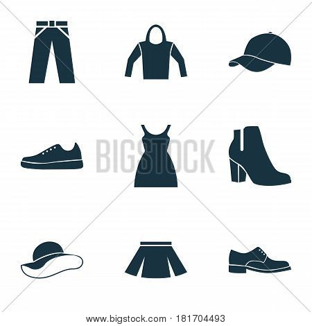 Clothes Icons Set. Collection Of Female Winter Shoes, Trilby, Pants And Other Elements. Also Includes Symbols Such As Pants, Skirt, Apparel.