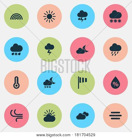 Weather Icons Set. Collection Of Lightning, Sun-Cloud, Douche And Other Elements. Also Includes Symbols Such As Crescent, Temperature, Light.