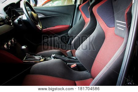 Close up of interior sport seat car