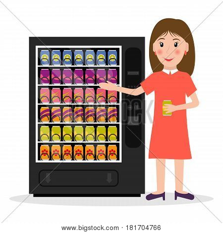 Vending machine with beverages drinks and a woman. EPS10 vector illustration in flat style.
