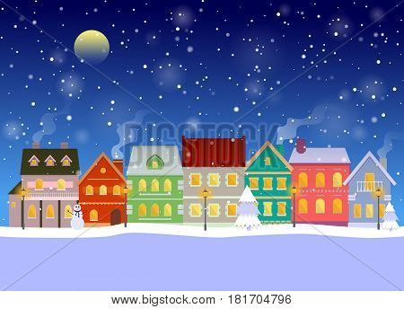 Winter cityscape at night with falling snow. Urban landscape. EPS10 vector illustration in flat style.