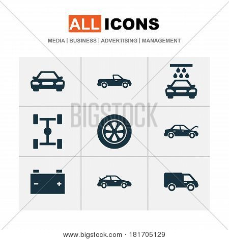 Automobile Icons Set. Collection Of Crossover, Accumulator, Transport Cleaning And Other Elements. Also Includes Symbols Such As Water, Auto, Tire.
