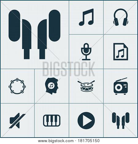 Music Icons Set. Collection Of Earmuff, File, Timbrel And Other Elements. Also Includes Symbols Such As Mic, Meloman, Earmuff.