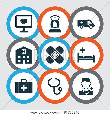 Drug Icons Set. Collection Of Bandage, Physician, Retreat Elements. Also Includes Symbols Such As Health, Retreat, Polyclinic.