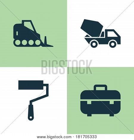 Industry Icons Set. Collection Of Equipment, Tractor, Cement Vehicle And Other Elements. Also Includes Symbols Such As Wall, Toolbox, Case.