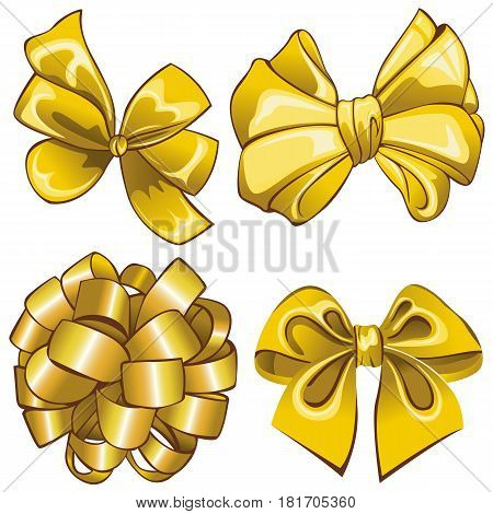 Vector of set with golden bows on white background
