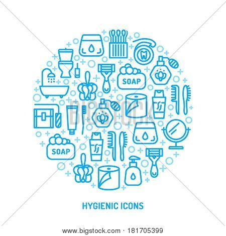 Bathroom personal hygiene equipment, body care accessories colorful blue green orange bright flat vector linear icons.