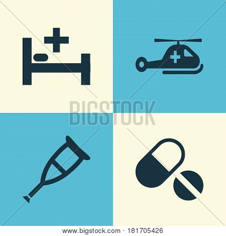 Antibiotic Icons Set. Collection Of Spike, Pills, Copter And Other Elements. Also Includes Symbols Such As Healthy, Tent, Pill.