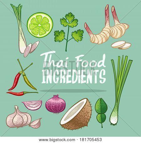 thai food ingredients doodle object vector illustration