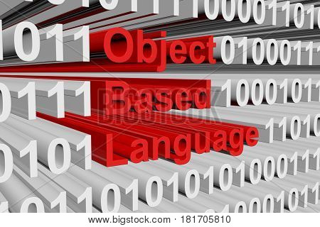Object based language binary code 3D illustration