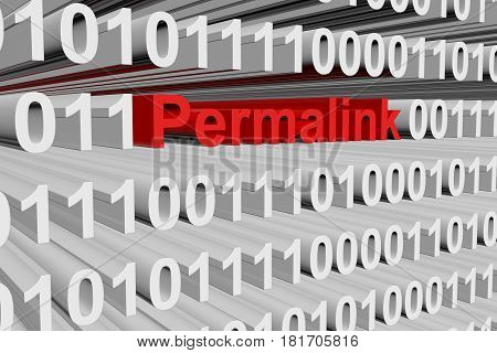 Permalink in the form of binary code, 3D illustration