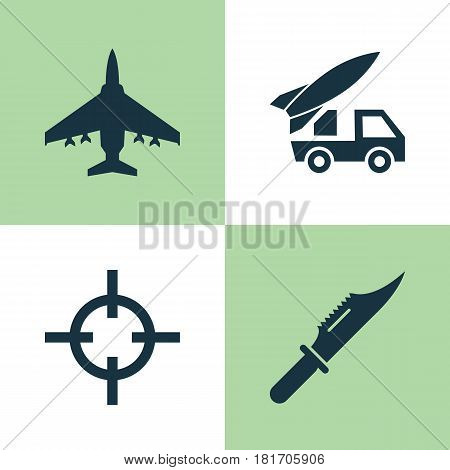 Warfare Icons Set. Collection Of Aircraft, Cutter, Target And Other Elements. Also Includes Symbols Such As Shot, Aircraft, Ordnance.
