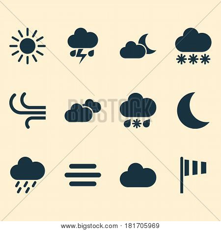 Weather Icons Set. Collection Of Weather, Cloudy, Flag And Other Elements. Also Includes Symbols Such As Cloud, Snowy, Vane.