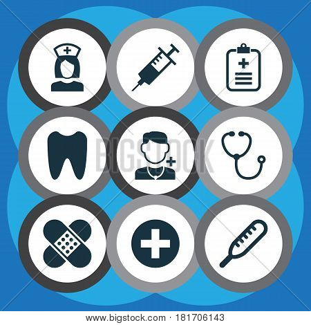 Medicine Icons Set. Collection Of Plus, Injection, Bandage Elements. Also Includes Symbols Such As Ache, Tooth, Health.