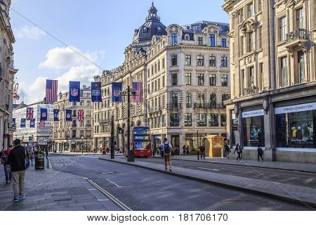 LONDON, GREAT BRITAIN - SEPTEMBER 21, 2015: Regent Street is a street in the West End known primarily for its shops restaurants and as one of the most important urban highways.