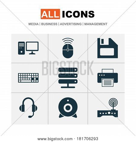 Laptop Icons Set. Collection Of Personal Computer, Keypad, Earphone And Other Elements. Also Includes Symbols Such As Computer, Mouse, Broadcast.