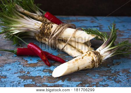 Root of horseradish with red hot pepper on a blue background with peeling paint