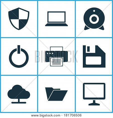Computer Icons Set. Collection Of Broadcast, Dossier, Laptop And Other Elements. Also Includes Symbols Such As Start, Protection, Camera.