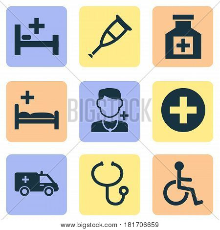 Drug Icons Set. Collection Of Plus, Polyclinic, First-Aid And Other Elements. Also Includes Symbols Such As Sign, Invalid, Medication.