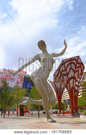 Las Vegas, USA - October 11, 2016: An editorial stock photo of The Park in Las Vegas. The Park is a an outdoor destination for dining and entertainment on the grounds of the T-Mobile arena on the Las Vegas Strip.
