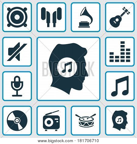 Audio Icons Set. Collection Of Earmuff, Meloman, Silence And Other Elements. Also Includes Symbols Such As Barrel, Earmuff, Music.
