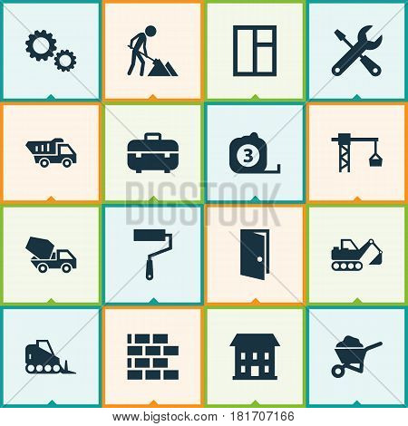 Architecture Icons Set. Collection Of Digger, Maintenance, Tractor And Other Elements. Also Includes Symbols Such As Truck, Equipment, Tower.