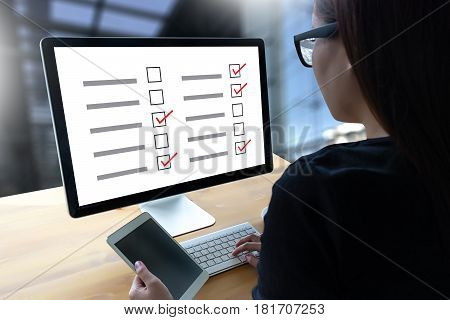 Survey And Results Analysis Discovery Businessman Giving Online Concept